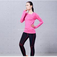 New Moisture absorption Perspiration Sports T-shirt Running Women Dye Fitness Training Long Sleeve Sport Clothes Yt004(China (Mainland))
