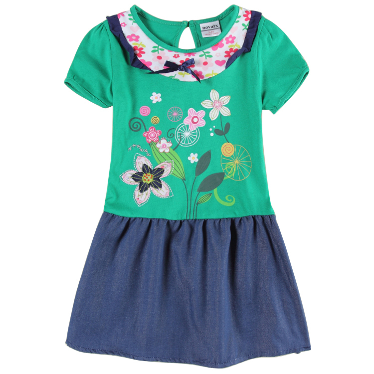 5pcs/lot Baby Girls Floral Print Dresses Nova Baby Girl Clothing Summer Style Embroidery Girls Short Sleeves Girl Dress H6240<br><br>Aliexpress