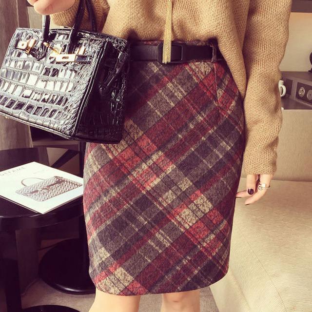 Ретро юбка saia юбки женская saias женщин faldas юп роковой винтаж etek falda высокая талия плед колен 2016 mujer rokken