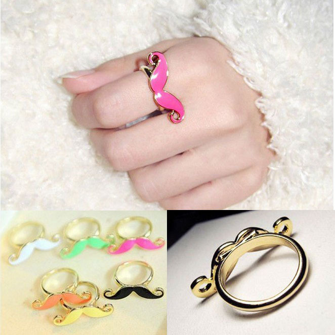 2015 New Designer Jewellery Classic Candy Color Resizable Mustache Ring Korean Rings for women B9R6C(China (Mainland))