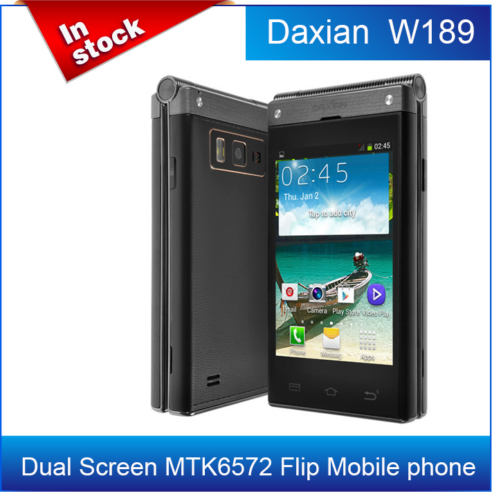 "In Stock!Original Daxian W189 Dual Screen MTK6572 Dual core WCDMA Flip Mobile phone 3.5"" IPS 5MP Android 4.2 System/Avil(China (Mainland))"