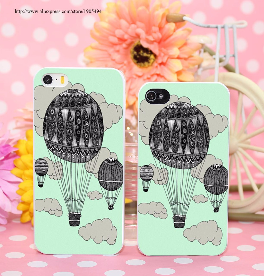 92716V Hot Air Ballooning Hard White Cover Cases for Apple iPhone 6 6s plus 5 5s 4 4s Phone Case Milk White(China (Mainland))