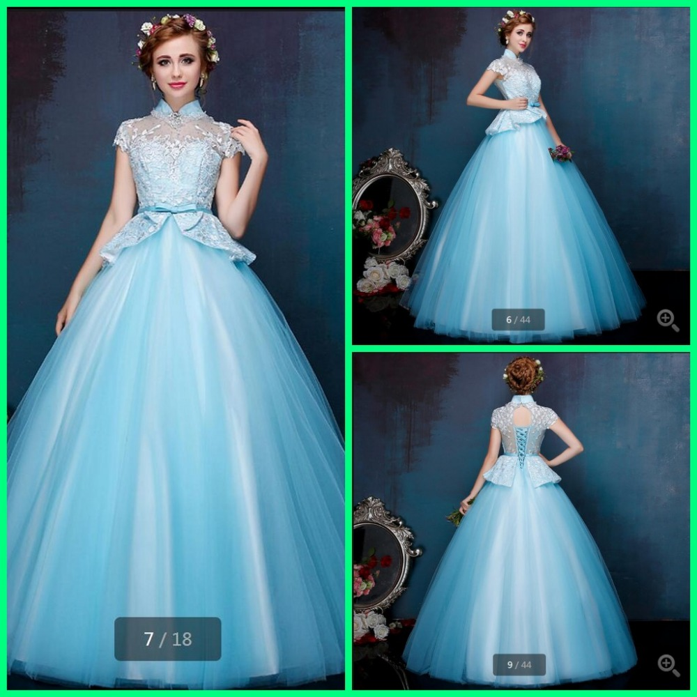 Popular Blue High Neck Tulle Ball Gowns-Buy Cheap Blue High Neck ...