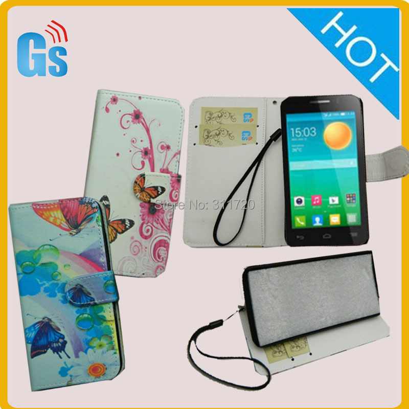 Wholesale Purse Pu Leather Straps Customs Printed Flip Case For Alcatel One Touch Pop D3 4035 4037A(China (Mainland))