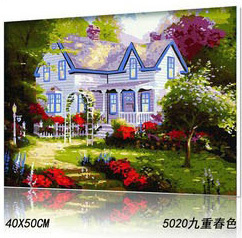 NEW DIY Coloring by Numbers Digital Oil Painting With frame Wall Art Canvas Pattern Home Decor Courtyard Spring 5020 40*50cm