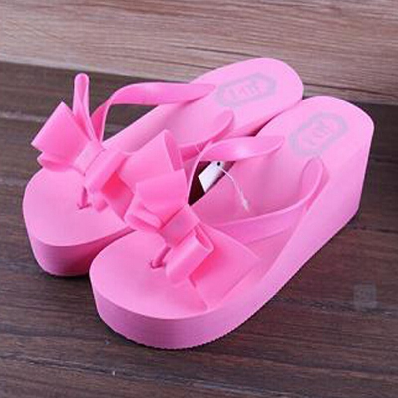 New 1pair Summer Fashion Women Knotbow Sandals Shoes Beach Flat Wedge Flip Flops Lady Slippers 6 color bz640721(China (Mainland))