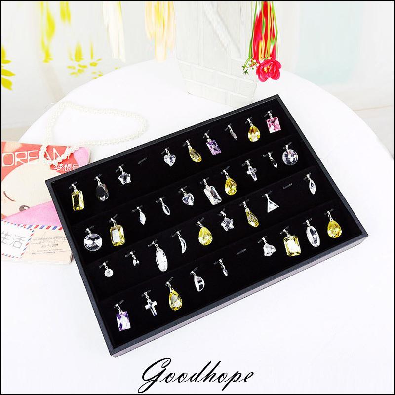 Portable Black Velvet Jewelry Display Tray Pendant Holder