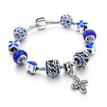 Gift!!! 925 Silver Heart Charm Bracelets & Bangles Crystal&Glass Beads Bracelets For Women Pulsera DIY Jewellery SBR160010(China (Mainland))