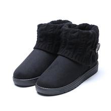 Nữ Ủng Slim Mùa Đông Giày Bốt Thời Trang Mắt Cá Chân Giày Phẳng Botas Nữ Mùa Đông Ấm Giày Người Phụ Nữ Winterschoenen Vrouw(China)