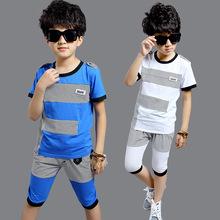 2016 summer new children's clothing boys suits big virgin child summer short-sleeved T-shirt stitching 2 piece summer paragraph(China (Mainland))