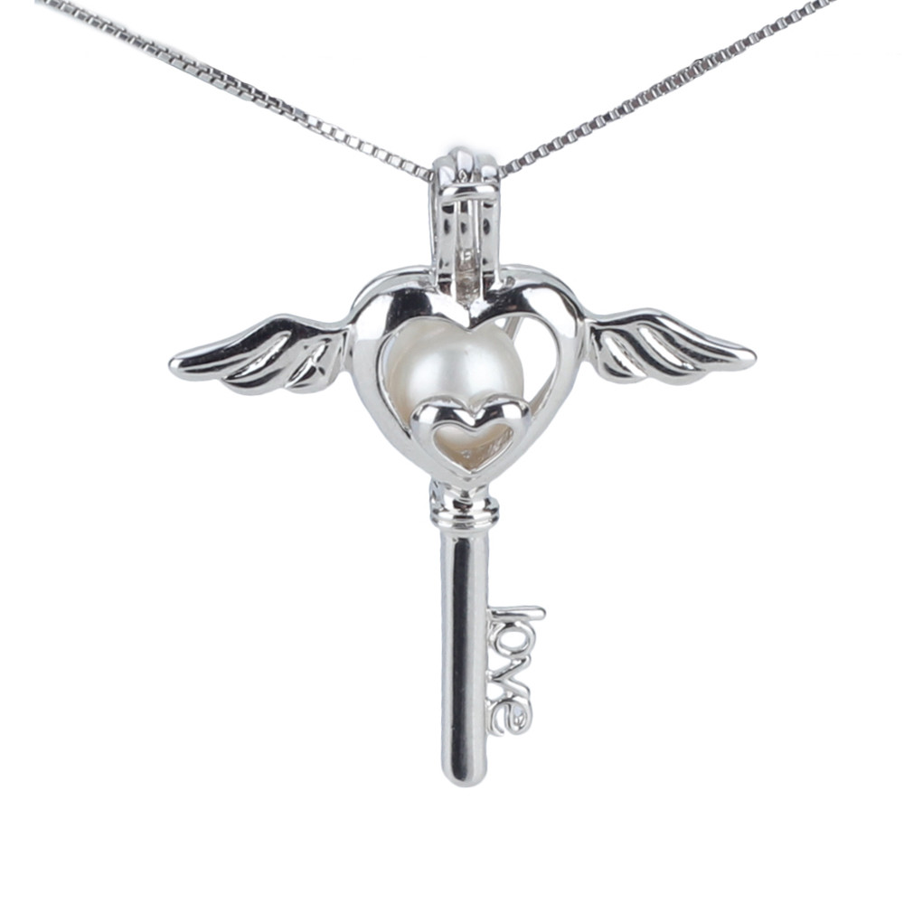 Charming women 925 sterling silver angel key locket pendant necklace, pearl love heart pendant necklace(China (Mainland))