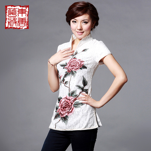 Cheongsam 2013 summer embroidery lace material peony thin version of the top - - ldquo . rdquo .