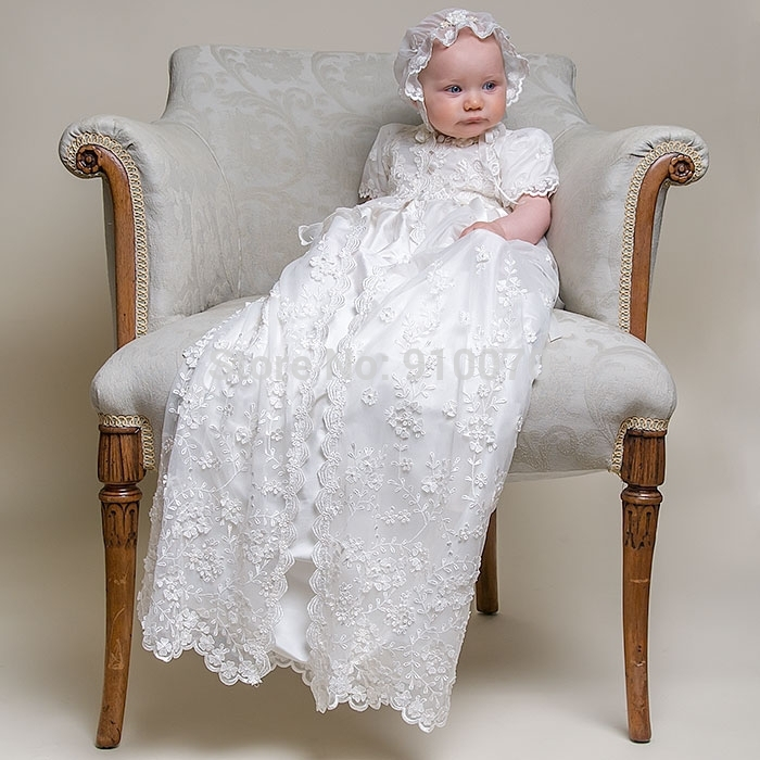 2015 New Arrival Imitated Silk Baptism Newborn Christening Dress/ Charming Appliques Lace Long Baby Christening Gown Customize(China (Mainland))
