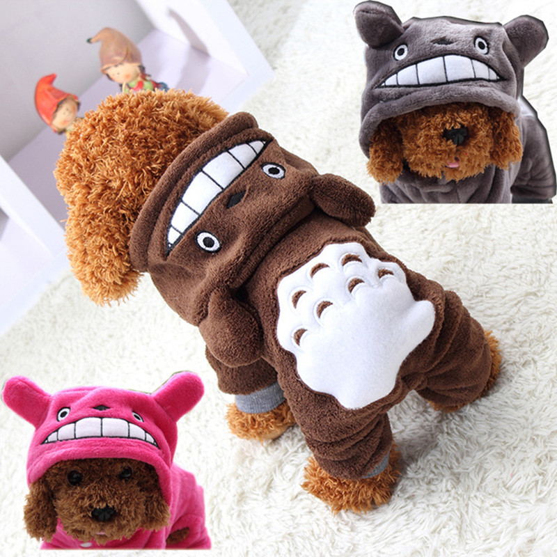 New Fleece Pet Cat Dog Costume Soft Warm Dogs Clothes Cartoon Totoro Hoodie Coat Four Leg Jumpsuit Clothing for Small Pets 14(China (Mainland))