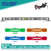 Oslamp X-Series 500W 52 inch Offroad Driving LED Bar Combo Cree Chips Work Light + Color Masks 12V 24V SUV Car 4X4 4WD - TM store