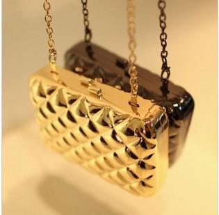 Роскошь золото бронзы металл чехол рама шотландка вечернее сумки день сцепление мешок для женщины с цепь 5 цветов
