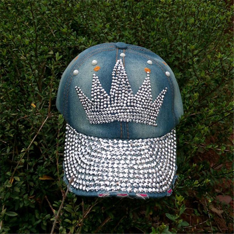 crown pattern Diamond Point print cowboy washed denim caps women jeans baseball cap rhinestone Adults hats(China (Mainland))