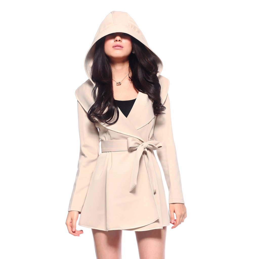 Womens Trench Coat With Hood Photo Album - Reikian