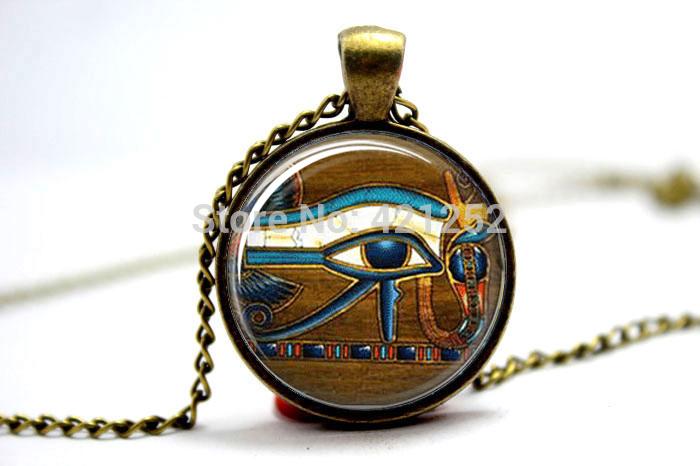 10pcs/lot  Eye of Horus Necklace Egyptian Necklace Egyptian Eye Glass Tile Jewelry   Art Pendant Glass Photo Cabochon Necklace<br><br>Aliexpress