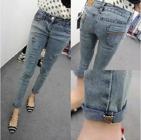 new fashion spring summer autumn 2014 plus size Water to wash hemming capris ripped casual skinny jeans women denim pencil pants(China (Mainland))