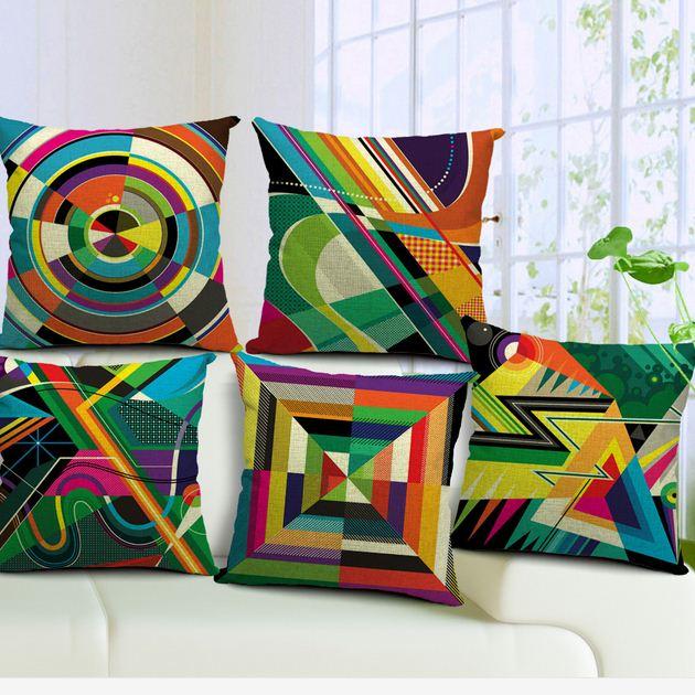 Retro Geometry Linen Cotton Square Cushion Cover Printed ColorfulDecorative Sofa Pillow Case Fashion Home Decor BZT-7(China (Mainland))