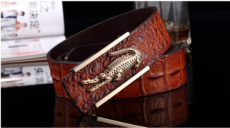 New arrival Men Belts Stereo crocodile buckle high quality cowskin leather top 4 Color Design city wind style for men(China (Mainland))