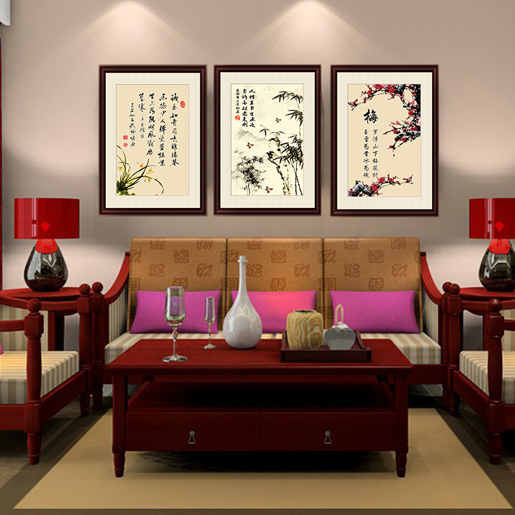 Hand Painted Large Oil Painting New Chinese Style Home Decoration Entranceway Stair Wall