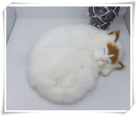 new simulation sleeping cat toy polytene &amp; fur white cat toy home furnishing gift 25x21cm<br><br>Aliexpress