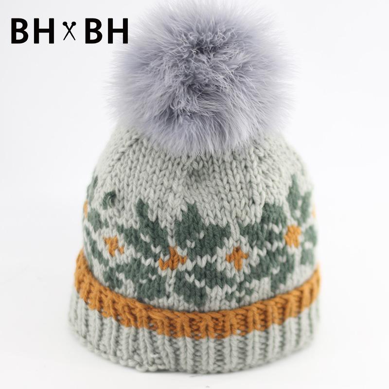 High Grade women casual knitted skullies beanies warm crochet hat pattern chapeau with Real Raccoon Fur Pom headwear BH-B2581(China (Mainland))