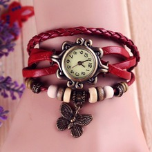 Lackingone 2015 christmas gift hot sale relogio feminino leather women watches Vintage Hand Knit butterfly pendant