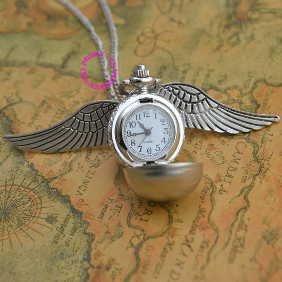 hot antique silver wing golden gold snitch ball quartz pocket watch necklace women arabic number hour