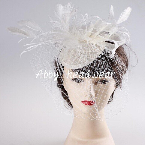 Hot Selling Bridal Birdcage Face Veil Party Hat Headdress Fascinator Feather veil Wedding accessories vintage ornament(China (Mainland))