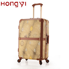 Women/Men Luxury ABS Aluminum Frame Spinner Travel Suitcase Luggages Ostrich/Wood/Floral Print Patterns Suitcases Business Bag(China (Mainland))