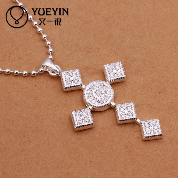 N346 Cross Necklace Women Wedding Dress Accessories 925 Sterling Silver Jewelry Necklace Pendants Choker Statement Chain collar(China (Mainland))