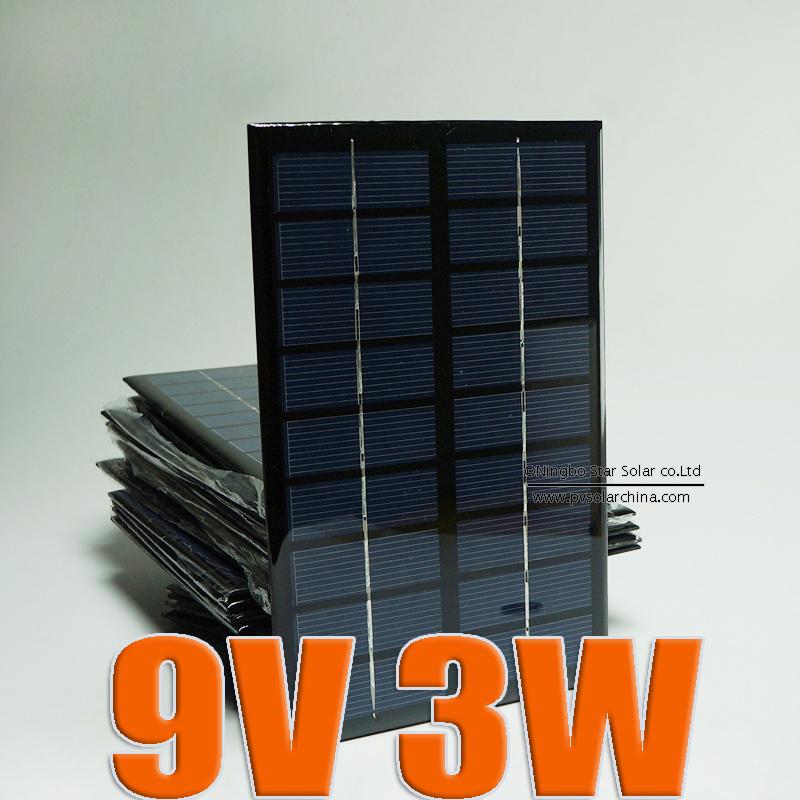 9V 3W 330mA Mini monocrystalline polycrystalline solar battery Panel charge for small solar power kit DIY education study(China (Mainland))