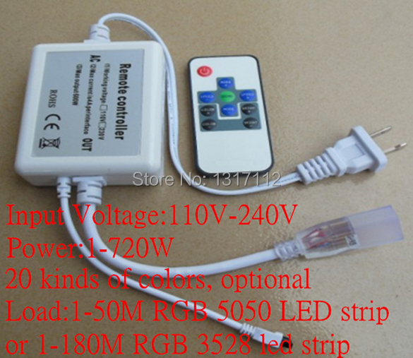 Fine Factory 3 circuits RF 10key Mini LED RGB controller working with AC110V&220V RGB led strip lights(China (Mainland))