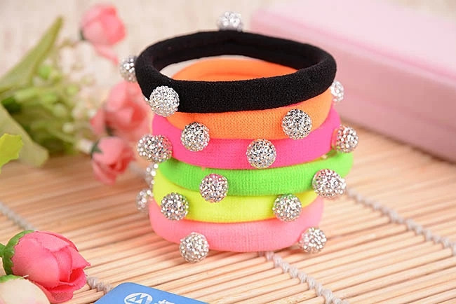 10pcs/lot Silver Crystal Balls High Quality Colorful Black Elastic Ponytail Holders Hair Accessories Girl Women Rubber Bands(China (Mainland))