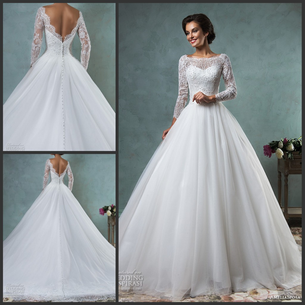 2016 wedding dresses bateau neckline lace long sleeves for A line tulle wedding dress