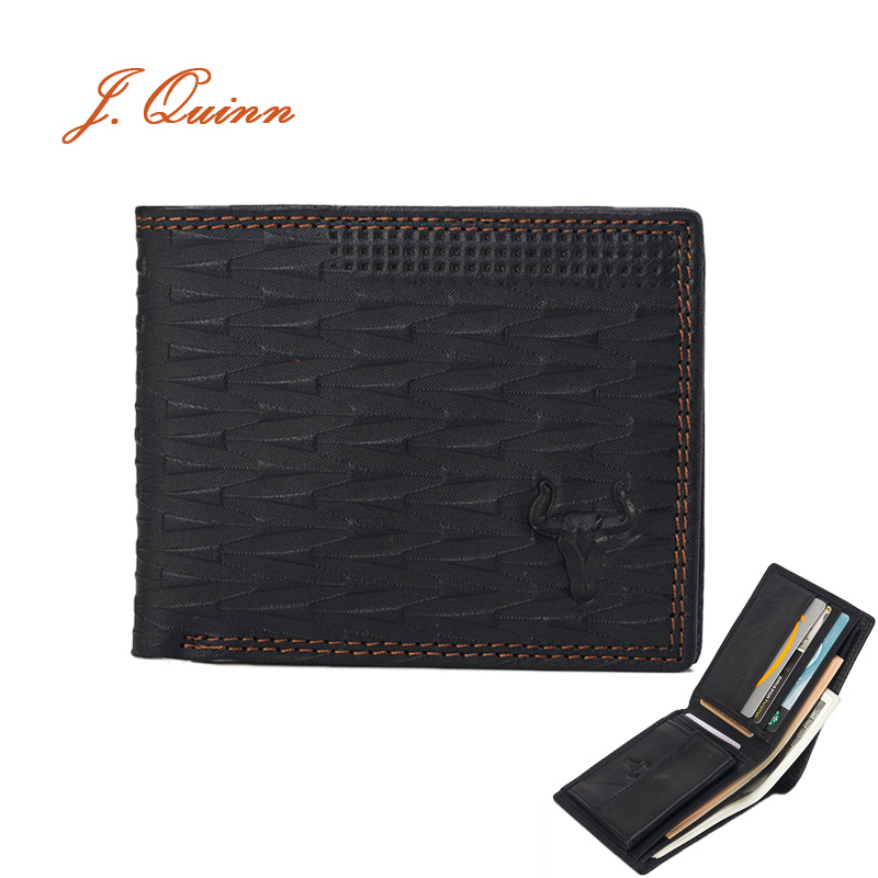 J.Quinn Slim Plaid Business Best Wallet For Men Coin Pocket Cow Genuine Leather Short Horizontal Wallets Designer Men's Purse(China (Mainland))