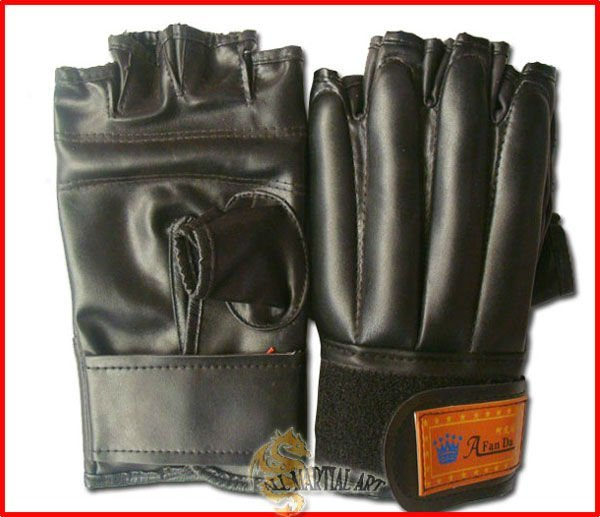 Free Shipping Boxing MMA Fingerless Sandbag Training Gloves Black Free Size (PGBG029) !!