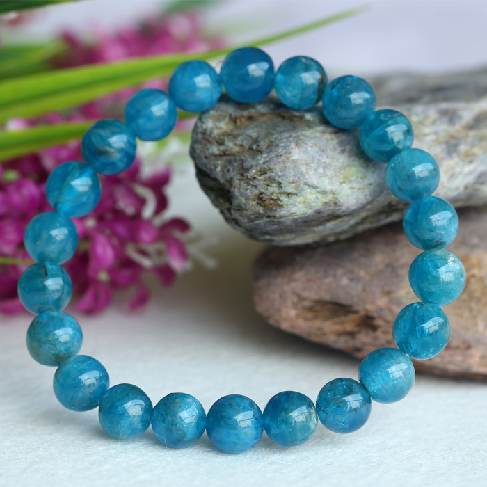 Discount Wholesale Natural Green Blue Apatite Crystal Stretch Finish Bracelet Round Beads 8mm 04154<br>