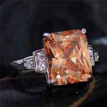 Spedizione gratuita argento champagne piazza cz zircone classic jewelry ring size 7 8 9(China (Mainland))
