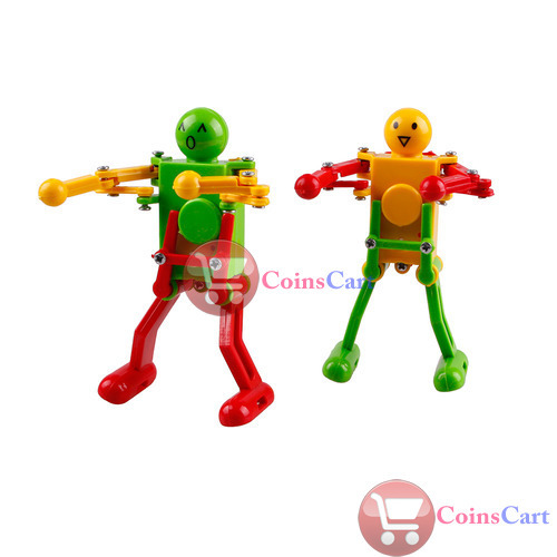 [Coins Cart] Red Yellow Green Clockwork Spring Wind Up Dancing Robot Children Kids Toy Gift High Quality(China (Mainland))