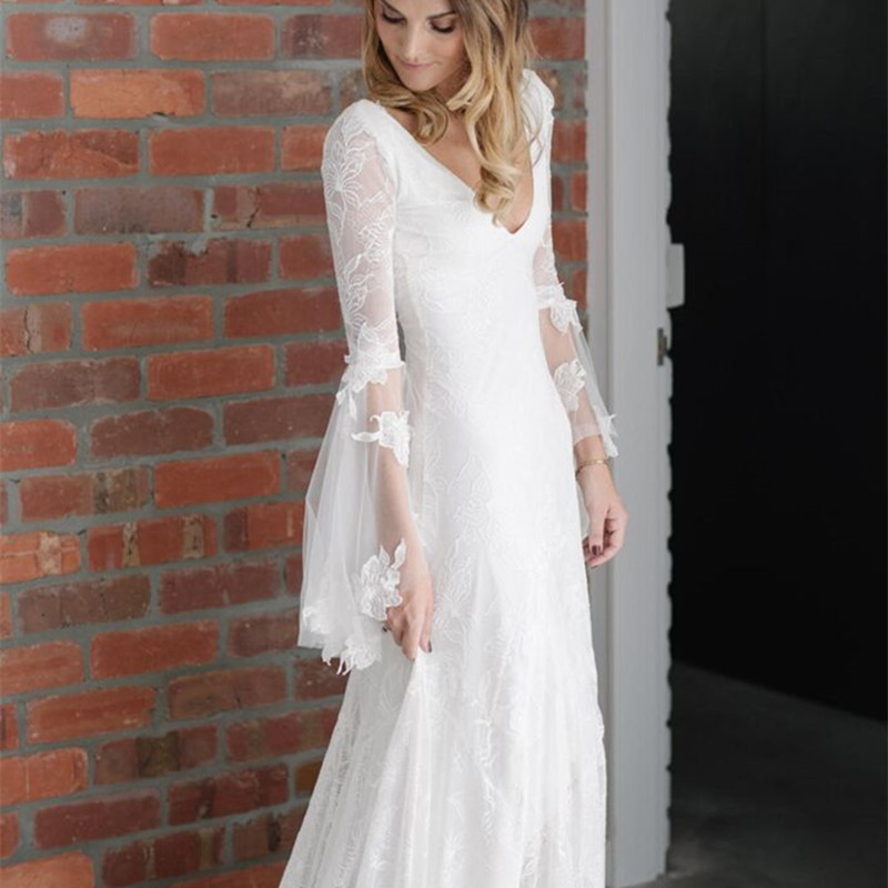 2015 new francis luxury romance v neck and v back lace for Stretch lace wedding dress