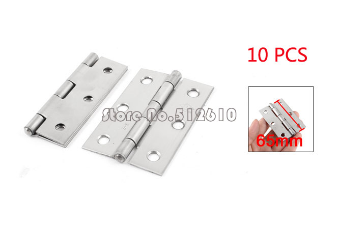 """Best Promotion Wholesale Price 10 Pcs 4.9mm Hole Stainless Steel Rotatable Cupboard Door Hinge Silver Tone 2.5""""(China (Mainland))"""