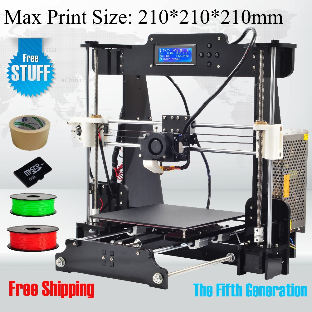 6 Material size 210*210*210mm High Quality Precision Reprap Prusa i3 DIY 3d Printer kit with 2 Roll Filament 8GB SD card and LCD(China (Mainland))