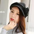 Fashion Women British Style Vintage Ladies Hat Wool Beret Warm Peaked Cap Brim Flat Hats Rose