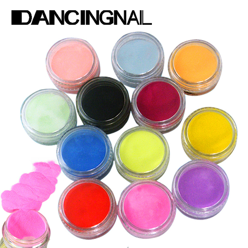 Free Shipping 12 Colors Nail Art Tips Acrylic 3D UV Gel Powder Dust Design Decoration Manicure Tools