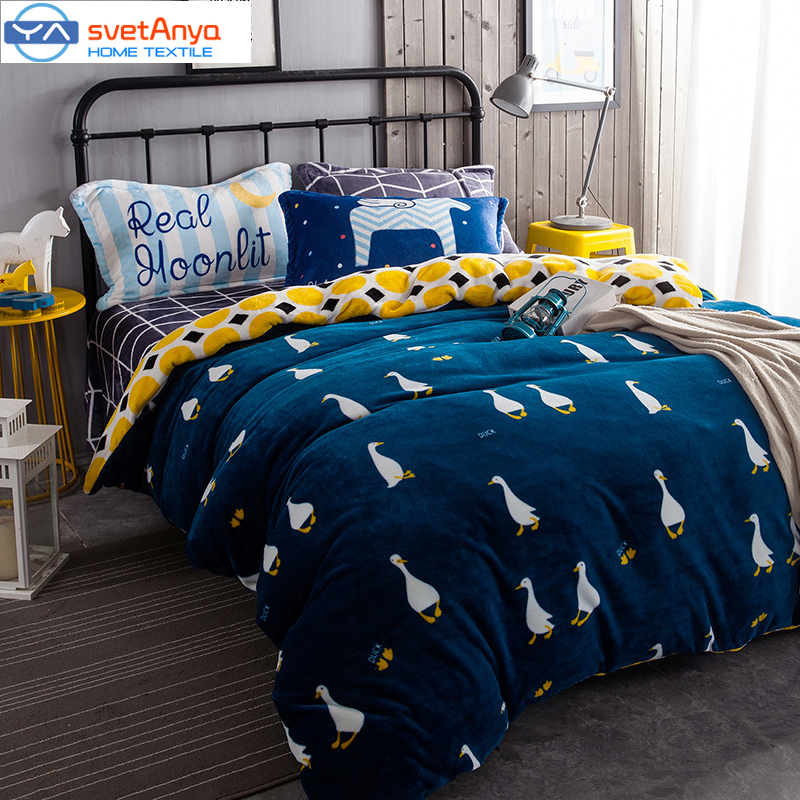 Svetanya Ins Hot Duck Printed Duvet Cover Set Twin Queen King Size Fleece Fabric Soft and Warm Bedding Sets Yellow Blue Color(China (Mainland))
