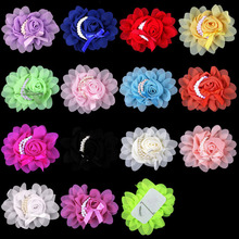20pcs/Lot  13X11CM 14Colors Baby Girl Large Fabric Rose Flower White Pearl Hair Bow Chiffon Flower for Kids Hair Accessoriess(China (Mainland))